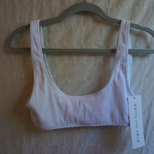 White Ribbed Swimsuit Top